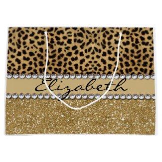 Leopard Spot Gold Glitter Rhinestone PHOTO PRINT Large Gift Bag