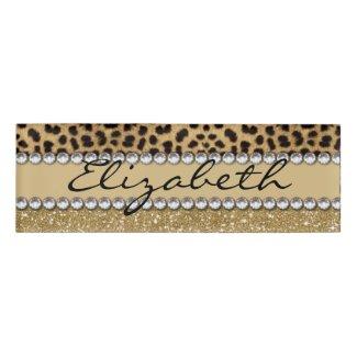 Leopard Spot Gold Glitter Rhinestone PHOTO PRINT Name Tag