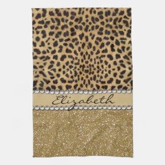 Leopard Spot Gold Glitter Rhinestone PHOTO PRINT Towel