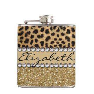 Leopard Spot Gold Glitter Rhinestone Print Pattern Flasks