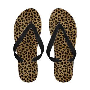 Leopard Spot Gold Glitter Rhinestone Print Pattern Flip-Flops