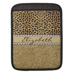 Leopard Spot Gold Glitter Rhinestone Print Pattern iPad Sleeves