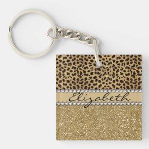 Leopard Spot Gold Glitter Rhinestone Print Pattern Acrylic Key Chains