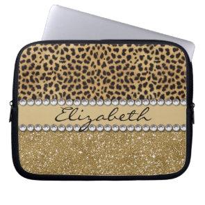 Leopard Spot Gold Glitter Rhinestone Print Pattern Laptop Computer Sleeve