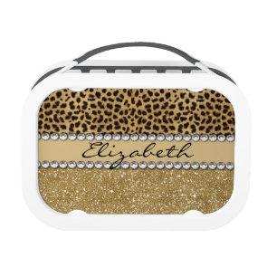 Leopard Spot Gold Glitter Rhinestone Print Pattern Yubo Lunchboxes