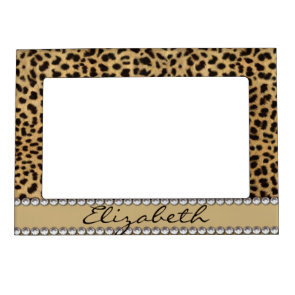 Leopard Spot Gold Glitter Rhinestone Print Pattern Picture Frame Magnet