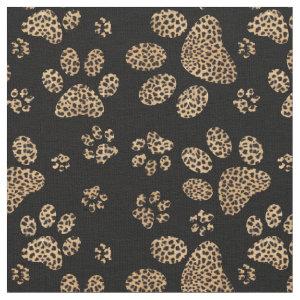 Leopard Spot Paw Prints Fabric