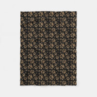 Leopard Spot Paw Prints Fleece Blanket