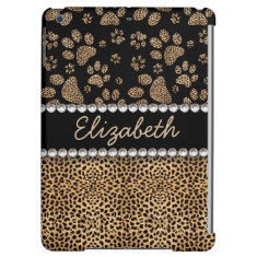 Leopard Spot Paw Prints Rhinestone PHOTO PRINT Cover For iPad Air