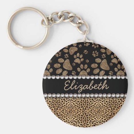 Leopard Spot Paw Prints Rhinestone PHOTO PRINT Keychain