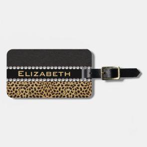 Leopard Spot Rhinestone Diamonds Monogram Bag Tag