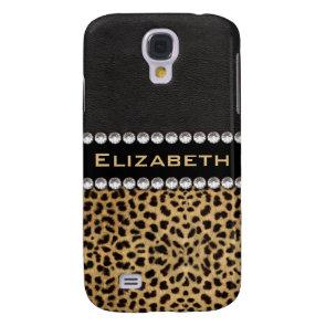 Leopard Spot Rhinestone Diamonds Monogram Galaxy S4 Case