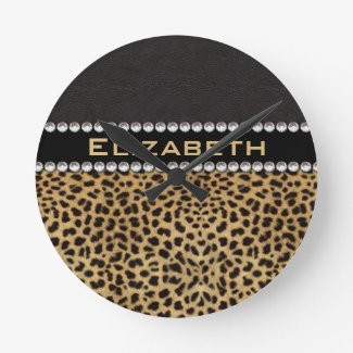 Leopard Spot Rhinestone Diamonds Monogram Round Clocks