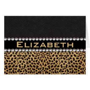 Leopard Spot Rhinestone Diamonds Monogram Custom Cards