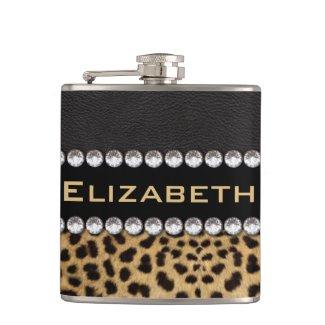 Leopard Spot Rhinestone Diamonds Monogram Hip Flasks