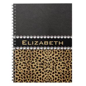 Leopard Spot Rhinestone Diamonds Monogram Notebook