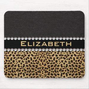 Leopard Spot Rhinestone Diamonds Monogram PHOTO Mouse Pad