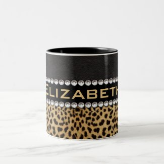 Leopard Spot Rhinestone Diamonds Monogram PHOTO Coffee Mugs
