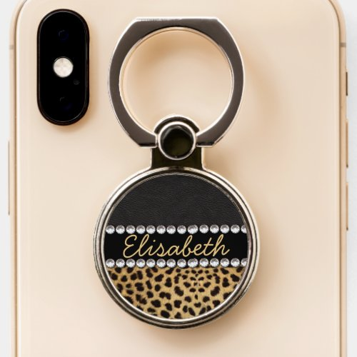 Leopard Spot Rhinestone Diamonds Monogram PHOTO Phone Ring Stand