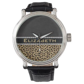 Leopard Spot Rhinestone Diamonds Monogram PHOTO Wristwatches