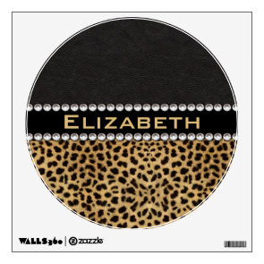 Leopard Spot Rhinestone Diamonds Monogram Wall Stickers
