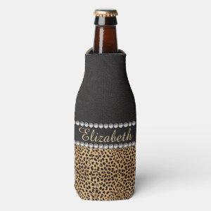 Leopard Spot Rhinestone Diamonds Personalized Bottle Cooler