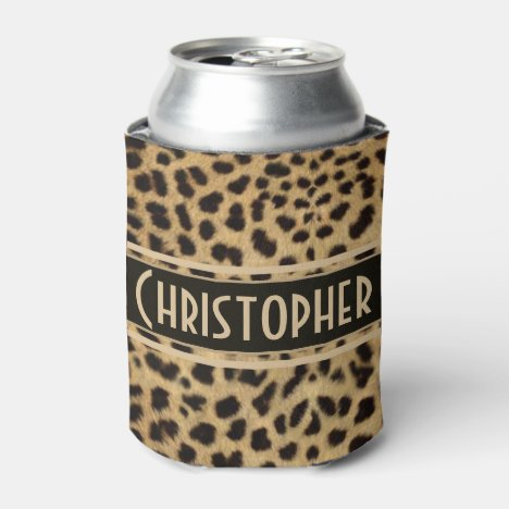 Leopard Spot Skin Print Personalized Can Cooler