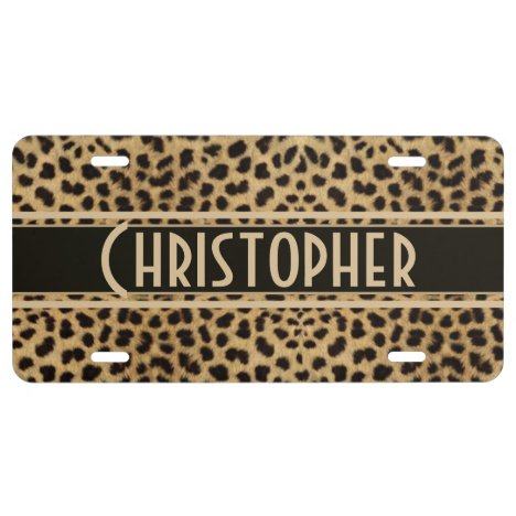 Leopard Spot Skin Print Personalized License Plate