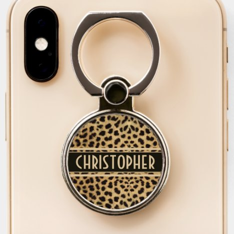 Leopard Spot Skin Print Personalized Phone Ring Stand