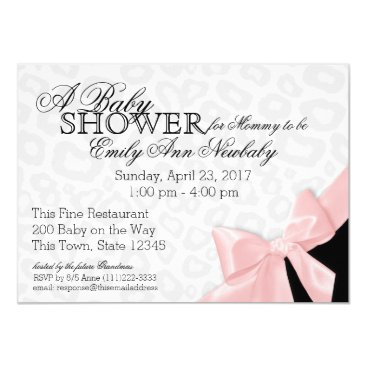 Leopard Spots and Pink Ribbon Baby Shower Card