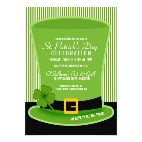 Leprechaun Hat St. Patricks Day Party Invitations