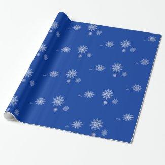 Let it Snow! Blue & White Snowflake Gift Wrap