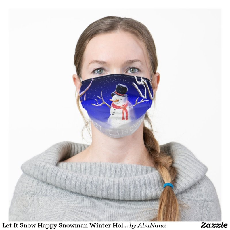 Let It Snow Happy Snowman Winter Holidays Adult Cloth Face Mask