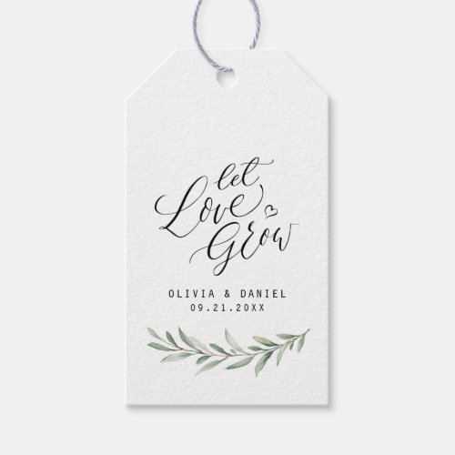 """""""Let love grow"""" calligraphy rustic greenery favors Gift Tags"""