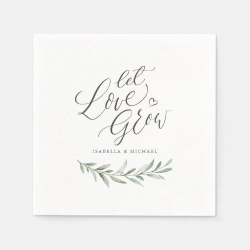 """Let love grow"" script rustic greenery wedding Napkin"