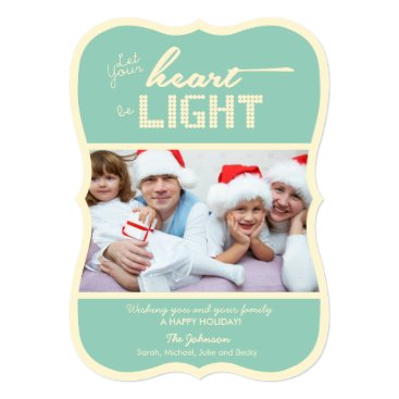 Let your heart be light - green and cream card