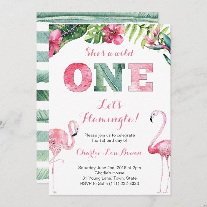 let s flamingle 1st birthday invitations for girl zazzle com