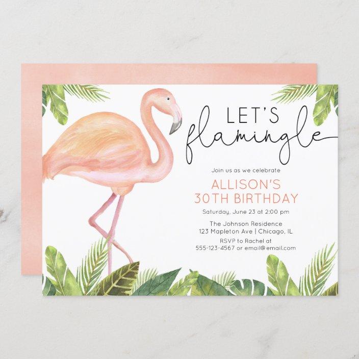 let s flamingle flamingo birthday party invitation zazzle com