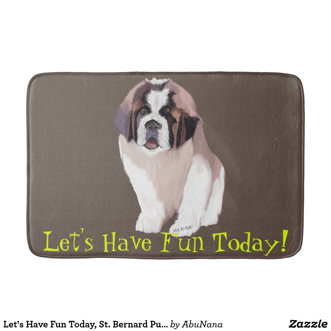 Let's Have Fun Today, St. Bernard Puppy Style Bath Mat