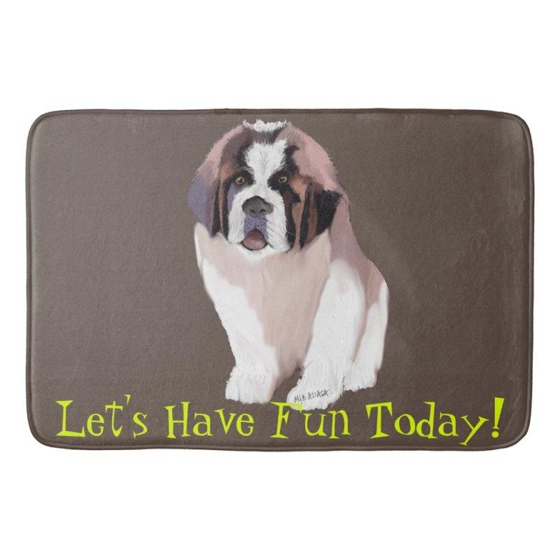 Let's Have Fun Today, St. Bernard Puppy Style Bath Mat