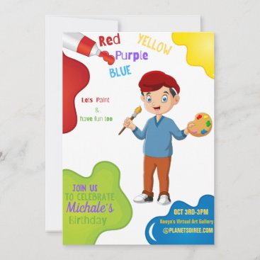 Lets Paint Birthday Invitation Card (Boy)