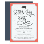 Let's Pig Out Coral Navy BBQ Birthday Party Invitation