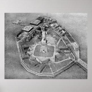 Liberty Island Black and White Photograph (1921) Print