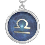 Libra symbol silver plated necklace