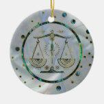 Libra Zodiac Gold Abalone on Constellation Ceramic Ornament