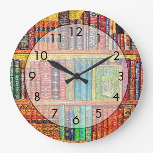 Library Books Large Clock