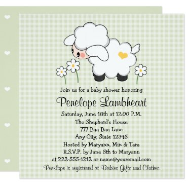 Light Green Baby Lamb Baby Shower Card