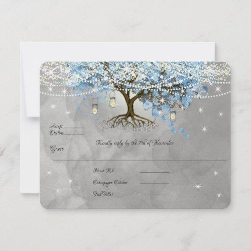 Light Pale Dusty Blue Heart Leaf Tree Forest Rsvp
