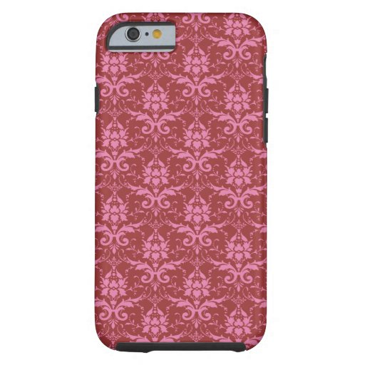 Light Pink on Dark Pink Damask Pattern Tough iPhone 6 Case
