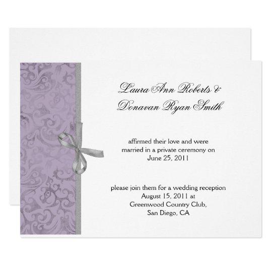 Light Purple Gray White Damask Post Wedding Invitation